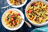 Fusilli with eggplant and tomatoes