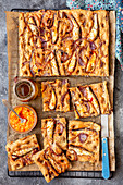 Wholemeal focaccia with onion and sardines