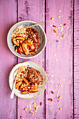 Sweet potatoes and chocolate cream with muesli and plums