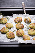Vegan potato and courgette fritters with rosemary