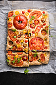 Savoury vegan spelt and tomato cake