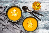 Pumpkin soup with lupine meal (minced meat substitute) and leek