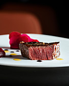 Beef fillet with cocoa butter and beetroot