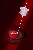 Schokolade mit Kussmund und Pfeil