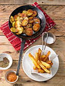 Fried potatoes and fries