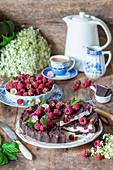Chocolate streusel raspberry cake with quark filling