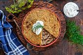 Weissrussische Babka aus Kartoffeln, Hackfleisch und Speck