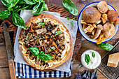 Mushroom pizza with sour cream