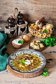 Mushroom soup with potato dumplings