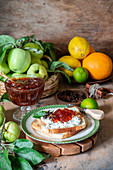 Spicy apple jam with citrus