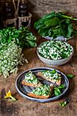 Cottage cheese herbs toast