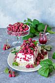 Raspberry quark cake