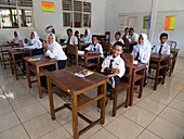 Students in a classroom in Indonesia