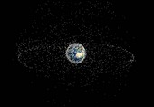 Space junk orbiting the Earth,illustration