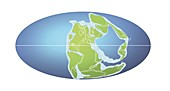 Continents 258 million years ago,illustration