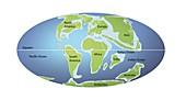 Continents 65 million years ago,illustration
