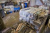 Aluminium and car radiators at metal recycling centre