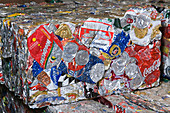 Bale of old aluminium cans at a metal recycling centre