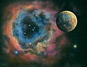 Planet and planetary nebula,illustration