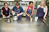 Students with learning disabilities learning to cook