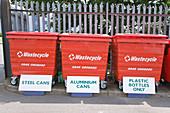 Various recycling bins at city tip