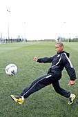 Boy in football practice