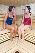 Two women relaxing in a sauna