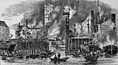 Fire at Toppings Wharf, London Bridge, 1843, c1843
