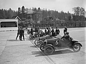 Cars on the start line of a motor race, Brooklands, 1914