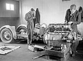 Mechanics working on Raymond Mays' 4500 cc Invicta car