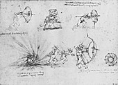 Studies of Shields for Protecting Foot Soldiers, c1480