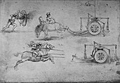 Drawings of Chariots Armed with Flails, c1480