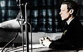 Edward VIII giving his abdication broadcast, December 1936