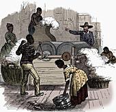 Slave labour on a cotton plantation, 1860