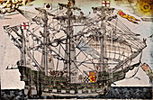 A woodcut of a ship believed to be The Ark Royal, c1587