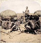 Braves of a Zulu Village holding a Council