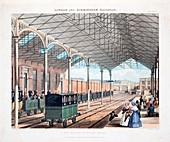The Station at Euston Square, 1837, hand coloured engraving