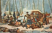 American Forest Scene - Maple Sugaring, 1856