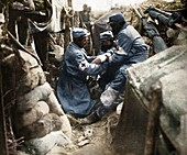 First aid in one of the French trenches, 1915