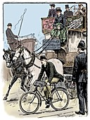Cyclist in busy London traffic, 1895