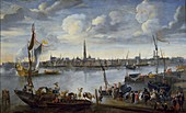 View of the Roads of Antwerp from the West Bank, post 1672