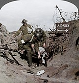 Carrying wounded soldier to a first aid post, Passchendaele