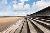 Sea wall and steps, Burnham-on-Sea, Sedgemoor, Somerset, UK