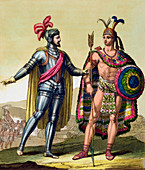 Encounter between Hernando Cortes and Montezuma II, 1519