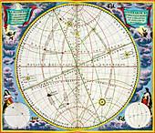 Map charting the movement of the Earth and Planets