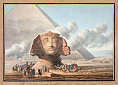 Head of the Sphinx and the Pyramid of Khafre, Giza, Egypt