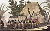 Captain Cook observes an Offering, Sandwich Islands