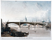 View of 'Southwark Iron Bridge' from Bankside, London, 1819