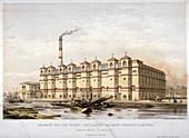 Granary on Canada Wharf, Rotherhithe, London, c1860