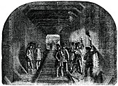 Mr Stephenson putting in the last rivet, 1886